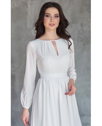 Шифоновое платье на роспись с рукавом