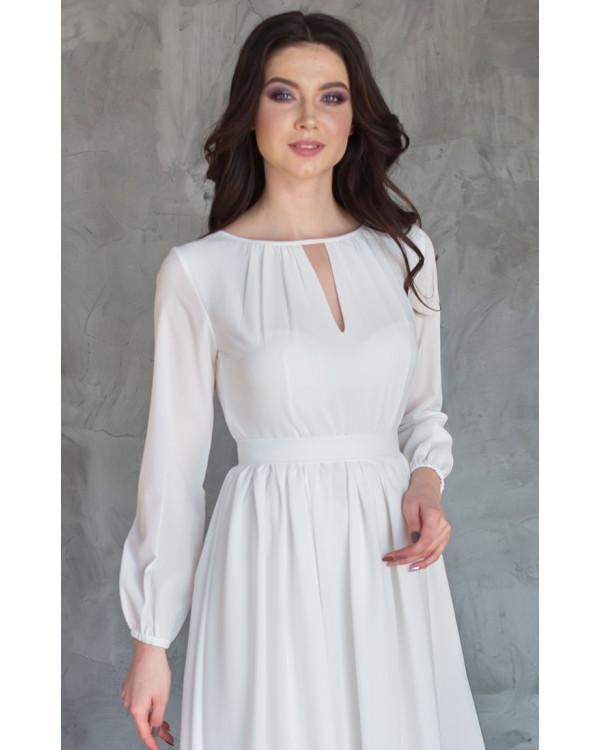 8efcc7cedf0 Шифоновое платье на роспись с рукавом купить в интернет-магазине ...