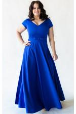 Синее вечернее платье для большой груди