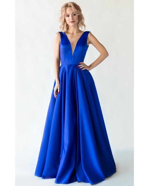 20b504aa0bc Синее вечернее платье с открытой спиной купить в интернет-магазине ...