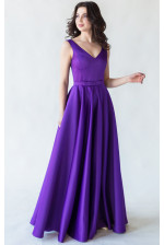 Вечернее атласное платье с юбкой солнце