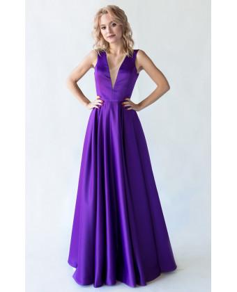 Вечернее платье с открытой спиной фиолет