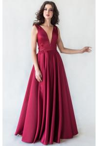Вечернее платье с открытой спиной марсала