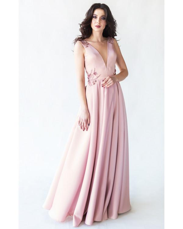 e811a5d6e04 Вечернее платье с открытой спиной пудра купить в интернет-магазине ...