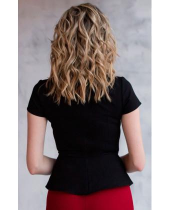 Блузка с баской черная