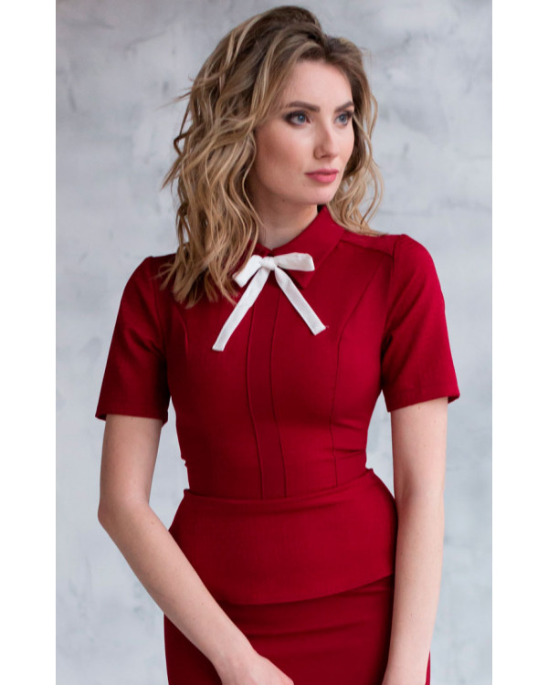 53a30c0b317 Офисная блузка красная купить в интернет-магазине Роял-бутик - Блузы ...