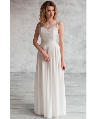 Легкое свадебное платье с корсетом