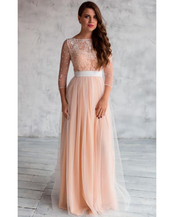 4cc473e7063 Нюдовое свадебное платье с рукавом купить в интернет-магазине Роял ...