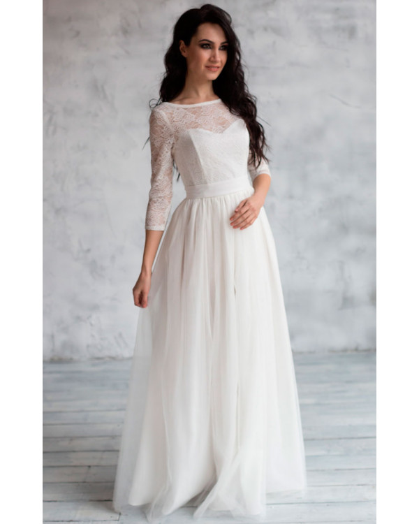 ceab08e76de Свадебное платье с кружевными рукавами купить в интернет-магазине ...