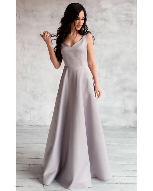 3b4587f7327ff Атласное платье серое купить в интернет-магазине Роял-бутик ...