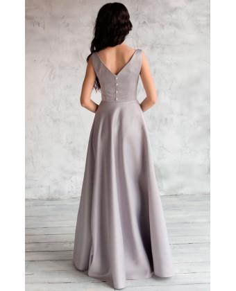 Атласное платье серое