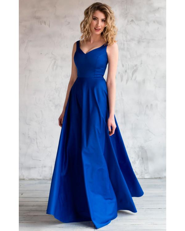 62979ce97661 Атласное вечернее платье синее купить в интернет-магазине Роял-бутик ...