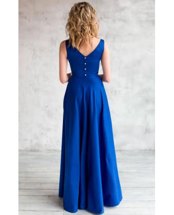 Атласное вечернее платье синее