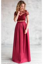 Платье топ и юбка марсала