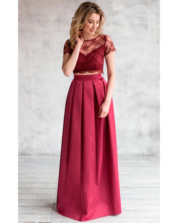 452daa7ca5a Платье топ и юбка марсала купить в интернет-магазине Роял-бутик ...