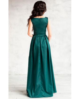 Платье трапеция изумрудное