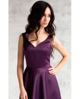 Вечернее атласное платье баклажанное