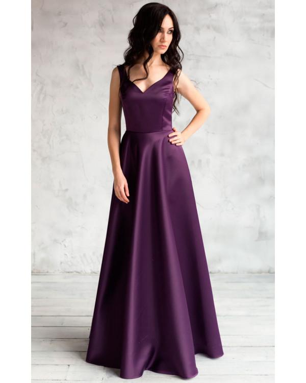 596d3fbf0bc81 Вечернее атласное платье баклажанное купить в интернет-магазине Роял ...