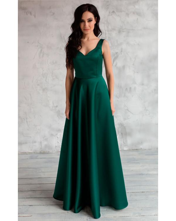 74c1f46b717591d Вечернее атласное платье изумрудное купить в интернет-магазине Роял ...