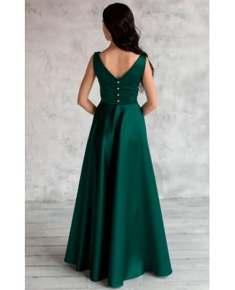 Вечернее атласное платье изумрудное