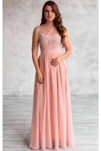 Вечернее платье с кружевом пудра