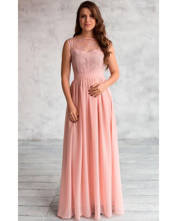7aaf3c85e36 Вечернее платье с кружевом пудра купить в интернет-магазине Роял ...