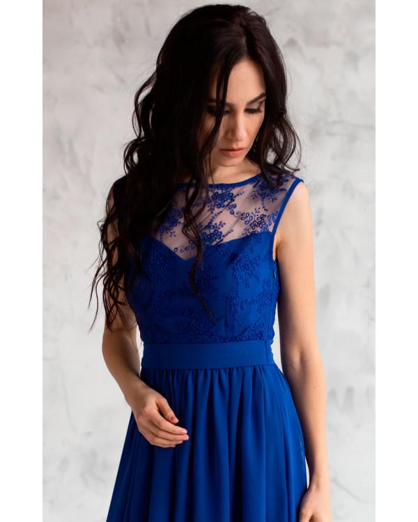 616beb800c4 Вечернее платье с кружевом синее купить в интернет-магазине Роял ...