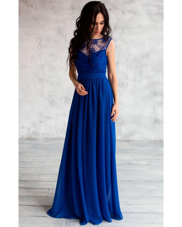 bac9213fb3b Вечернее платье с кружевом синее купить в интернет-магазине Роял ...
