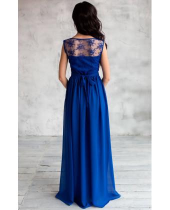 Вечернее платье с кружевом синее