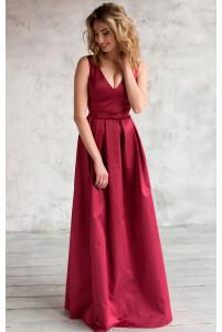 Вечернее платье трапеция марсала