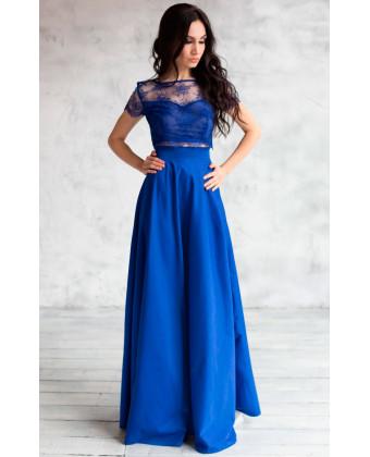 Вечерний топ и юбка синие