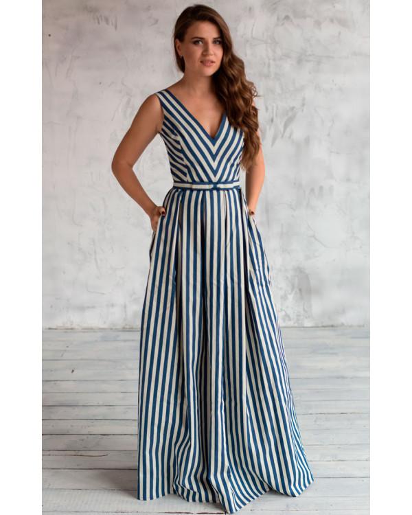 6aa603b2183 Длинное платье в полоску купить в интернет-магазине Роял-бутик ...