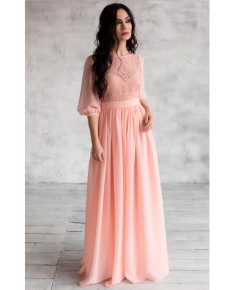 Нежное платье в пол с рукавами