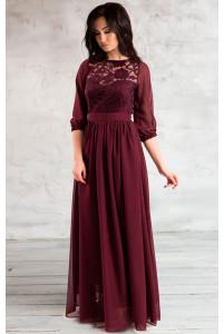 Закрытое платье в пол цвета марсала
