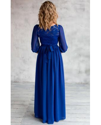 Закрытое платье в пол с рукавами