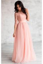 Нежное платье на выпускной пудровое
