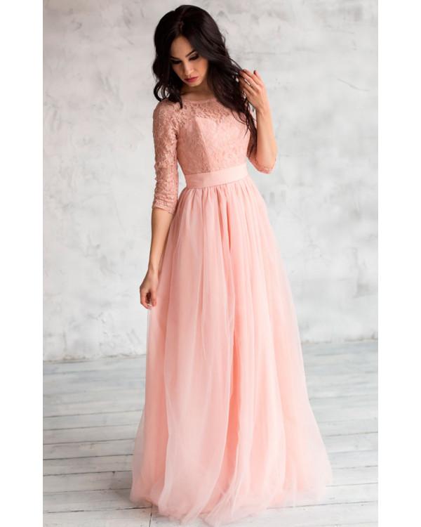 0132e0e9210 Нежное платье на выпускной пудровое купить в интернет-магазине Роял ...