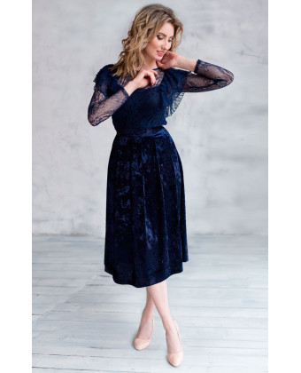 Бархатная юбка длины миди