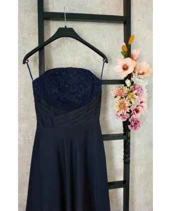 Вечернее платье б/б темно синее