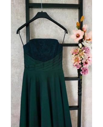 Вечернее платье б/б цвета изумруд