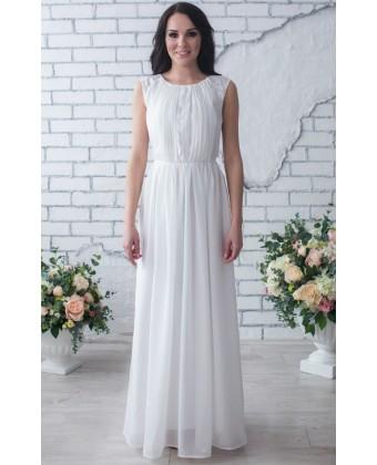 Белое шифоновое платье