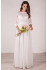 Длинное шифоновое платье с рукавом