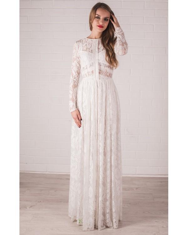 390e36a7c36 Кружевное свадебное платье с рукавами купить в интернет-магазине ...