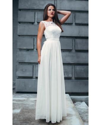 Молочное платье в пол с кружевным верхом