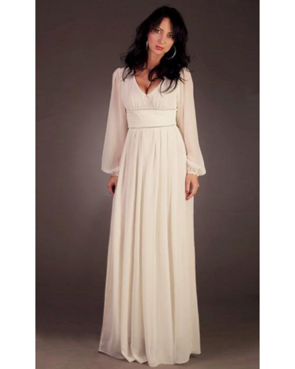 dee2b6e79d6 Шифоновое платье в пол с длинным рукавом купить в интернет-магазине ...