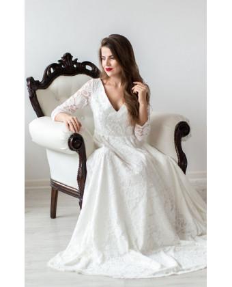 Платье на роспись со шлейфом