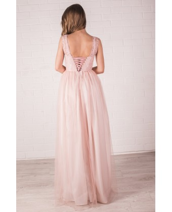 Пудровое платье на корсете