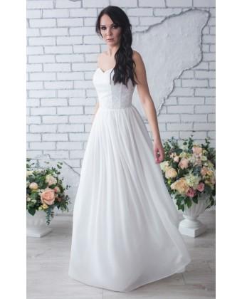 Свадебное платье с корсетом молочное
