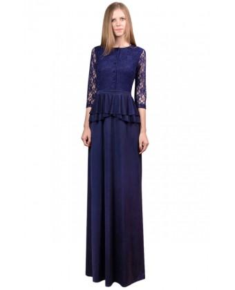 Длинное платье с гипюровым рукавом