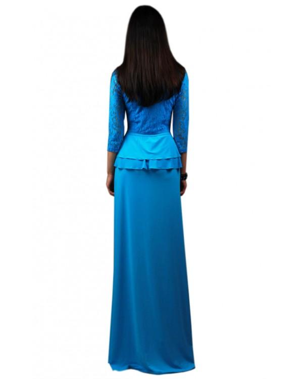 Платье Длинное Голубое Купить